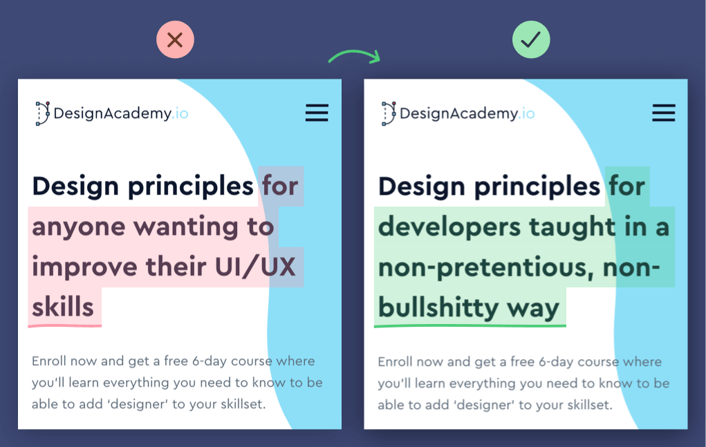 Design Academy before and after copy