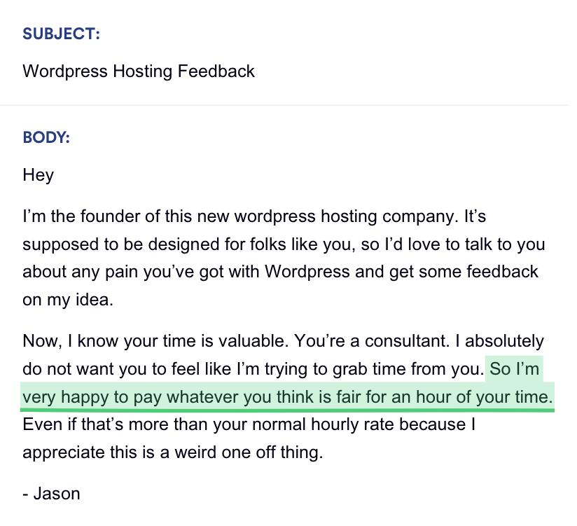 Jason Cohen's Sales Email